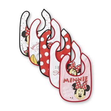 Disney Baby Minnie Mouse Infant Girl's 5 Pack Feeder Bibs - Rose Art