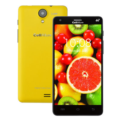 CellAllure Smart III 5-inch Yellow Unlocked GSM Dual-SIM 4G 4GB Android 4.2.2 Smartphone