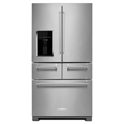 KitchenAid KRMF606ESS 25.8 cu. ft. French Door Refrigerator with 5 Shelves, 4 Door Bins, Herb Storage, 5-Door Configuration, 2 Soft-Close Drawers, and Measured Water Fill