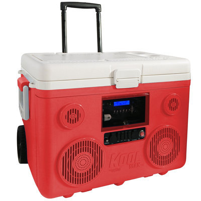 Sondpex Corporation Of America, Llc. TUNES2GO KoolMAX 40-Quart Wheeled Cooler Bluetooth PA System and Charging Station RED
