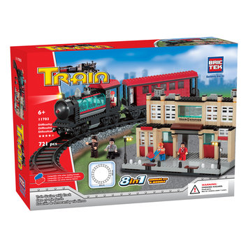 Brmb BRICTEK Train Station with Track 8in1