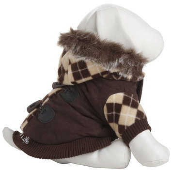Pet Life Llc Pet Life Brown Argyle Suede Dog Coat MD