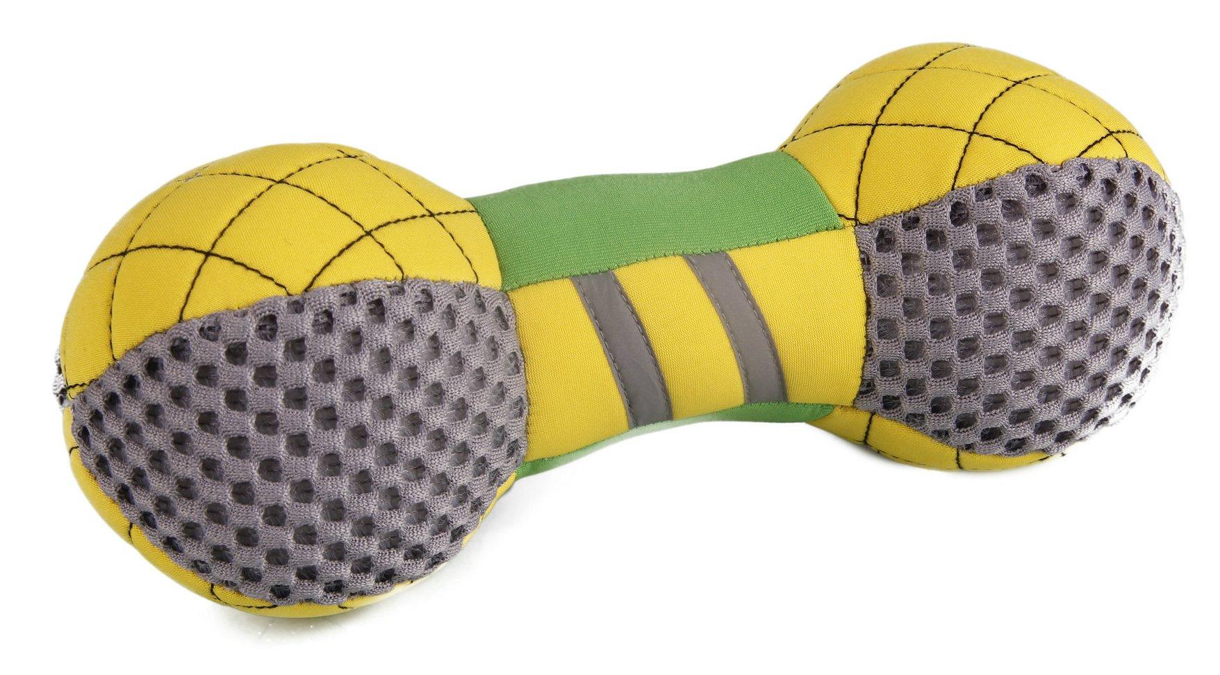 PET LIFE Pet Toys Bark-Active Neoprene Mesh Flotation Bone Fetch Dog Toy DT12YLGN