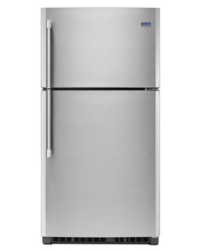 Maytag MRT711BZDM 21.2 cu. ft. Top-Freezer Refrigerator with 3 Shelves, 1 Fixed Full-Width Gallon Door Bin, 3 Adjustable Partial-Width Gallon Door Bins, 1 Fixed Full-Width Glass Freezer Shelf and BrightSeries LED Lighting: Stainless Steel