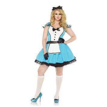 Leg Avenue 85355X Plus 2 Piece Storybook Alice Costume Set Size 1X-2X Blue & White