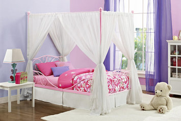 Dorel Home Products DHP Pink Canopy Twin Metal Bed