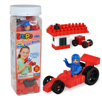 Snapo 16A151RD Snap & Go-Over Primary Color Blocks 150 Pcs Red
