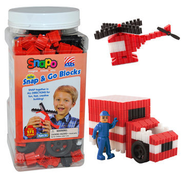 Snapo 16A277RD Snap & Go-Over Building Blocks 275 Pcs Red