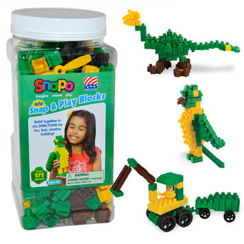 Snapo 16A277GN Snap & Play-Over Building Blocks 275 Pcs Green