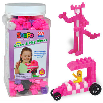 Snapo 16A277PK Dream & Play-Over Building Blocks 275 Pcs Pink