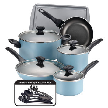 Farberware 15-pc. Nonstick Aluminum Cookware Set (Blue)