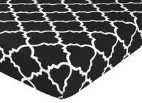 Sweet Jojo Designs Trellis Print Fitted Crib Sheet in Black/White