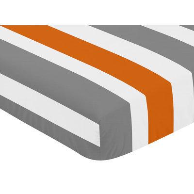 Sweet Jojo Designs Stripe Fitted Crib Sheet Color: Gray / Orange