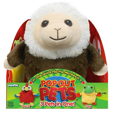 Jay At Play International Hk Ltd Pop Out Pets Rain Forest, Reversible Plush Toy, Get 3 Stuffed Animals in One