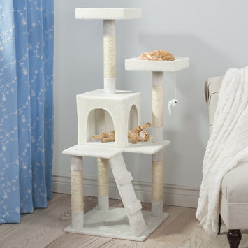 PETMAKER Penthouse Sleep and Play Cat Tree, 4', White