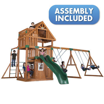 Backyard Discovery Swings, Slides & Gyms Wanderer All Cedar Playset Browns / Tans 54263coma