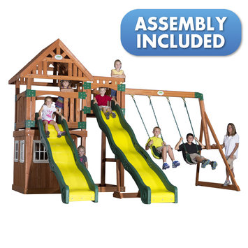 Backyard Discovery Swings, Slides & Gyms Journey All Cedar Playset Browns / Tans 54253coma