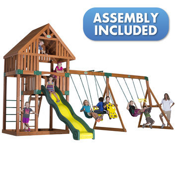 Backyard Discovery Swings, Slides & Gyms Quest All Cedar Playset Browns / Tans 54243coma