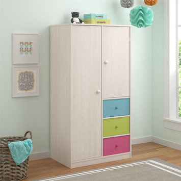 Ameriwood Altra Applegate Enchanted Pine Armoire with Fabric Bins by Cosco