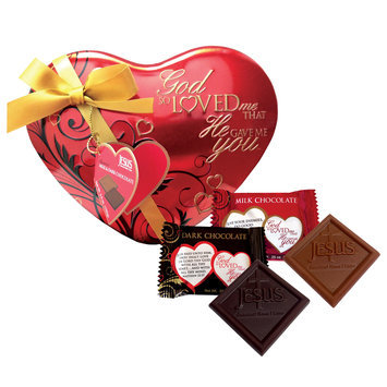 Scripture Candy 121774 Candy - V-God So Loved Me Heart Tin With Milk & Dark Chocolates - 3.5Oz