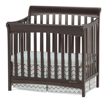 Foundations Worldwide Child Craft Ashton Slate Mini 4-in-1 Convertible Crib with Mattress