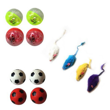 Iconic Pet Fur Mice, Plastic Ball and Bouncing Ball