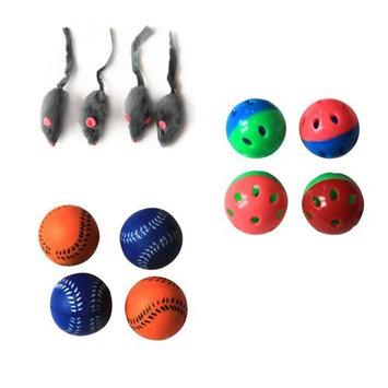Iconic Pet Fur Mice, Plastic Ball and Bouncing Softball