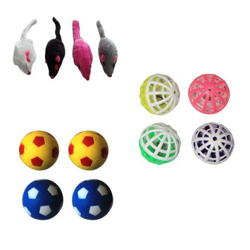 Iconic Pet Plush Mice, Plastic Ball and Bouncing Ball