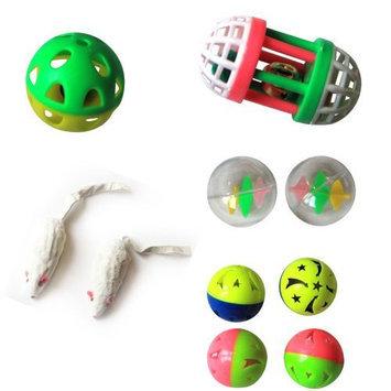 Iconic Pet Fur Mice, Plastic Roller and Plastic Balls