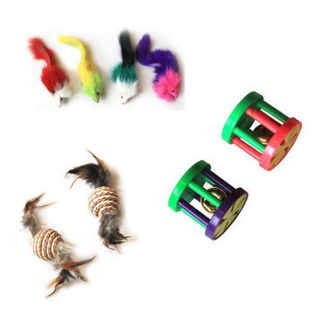 Iconic Pet Fur Mice, Paper Rope Ball and Plastic Roller