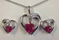Sterling Silver Created Ruby and Lab Created Sapphire White 2 Piece Set.
