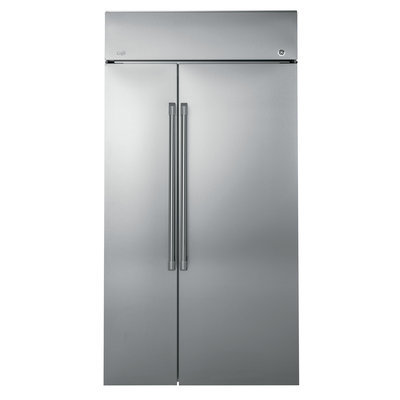 GE CSB48WSKSS Side-By-Side French-Door Refrigerator with 29.6 cu. ft. Capacity, 4 Adjustable Refrigerator Shelves, 4 Adjustable Freezer Shelves, 3 Refrigerator Drawers, 2 Freezer Baskets, 5 Refrigerator Door Bins, 5 Freezer Door Bins, Ice Maker and Auto Defrost: 48