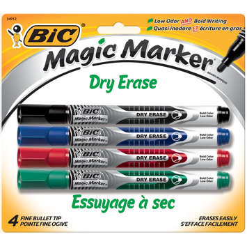 BIC Magic Marker Dry-Erase Markers, Pocket Style, Black and Assorted Ink Colors, 4/Pack