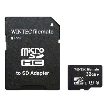 Wintec Industries Wintec Filemate Professional Plus 32GB microSDHC Flash Card with Adapter Model 3FMUSD32GU1PI-R