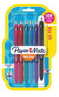 Paper-mate Paper Mate(R) InkJoy(TM) Retractable Pens, Medium Point, 0.7mm, Black Barrels, Assorted Ink Colors, Pack Of 6
