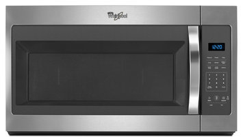 Whirlpool WMH31017FS 1.7 cu. ft. Over the Range Microwave Oven with 1000 Watts, Microwave Presents, 2-Speed, 300 CFM Vent Fan, Electronic Touch Controls, Dishwasher-Safe Turntable Plate and Adjustable Lighting: Black on Stainless
