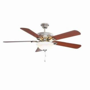 Hampton Bay Ceiling Fans Rothley 52 in. Indoor Brushed Nickel Ceiling Fan with Shatter Resistant Light Shade 51563