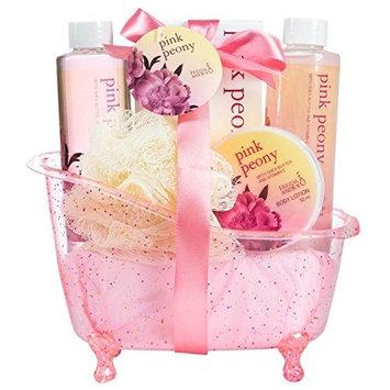 Pink Peony Spa Gift Set in a Dazzling Glitter Tub by Freida Joe