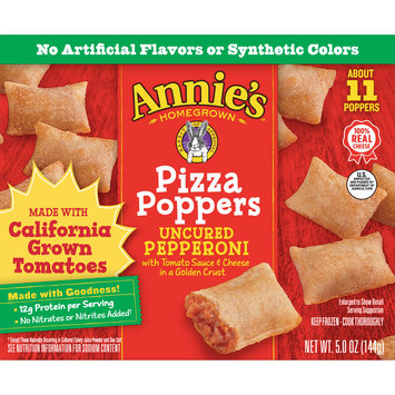 Annie's Pizza Poppers, Incured Pepperoni Pizza Poppers, Frozen Snacks, About 11 Poppers