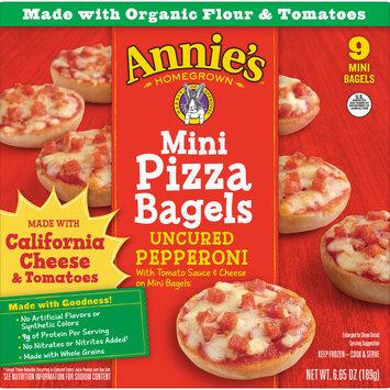 Annie's Pizza Bagels, Uncured Pepperoni Mini Pizza Bagels, Frozen Snacks, 9 Mini Bagels
