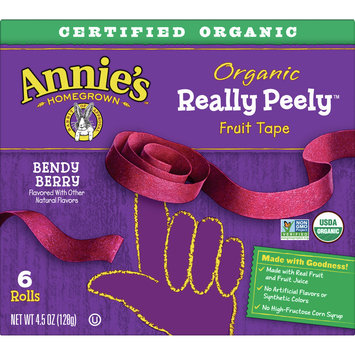 Annie's Homegrown Organic Really Peely Fruit Tape, Bendy Berry, 6 Rolls