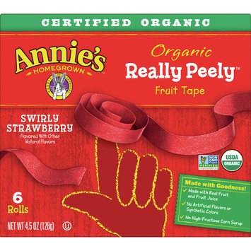 Annie's Homegrown Organic Really Peely Fruit Tape, Swirly Strawberry, 6 Rolls