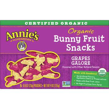 Annie's Gluten Free Organic Bunny Grapes Galore Fruit Snacks, 5Ct, 4 oz