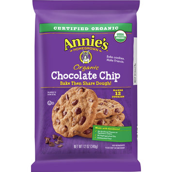 Annie's Organic Chocolate Chunk Cookie Dough, Bake & Share Cookie Dough, 12 Cookies, 12oz Bag