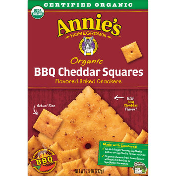 Annie's Homegrown Organic BBQ Cheddar Squares Baked Crackers, 7.5 oz