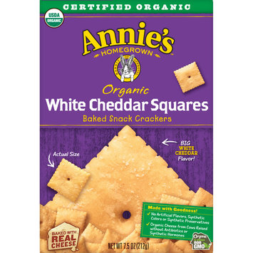 Annie's Homegrown Organic White Cheddar Squares Baked Snack Crackers, 7.5 oz