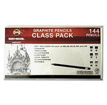Koh-I-Noor Toison d'Or Graphite Pencil Class Pack, 3.8mm, 6 Shades, 6B-2H, 24 Pieces