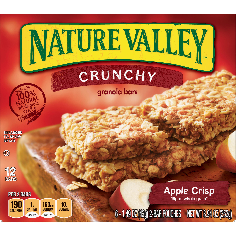 Nature Valley Granola Bars  Crunchy, Apple Crisp, 6 Pouches - 1.5 oz, 2-Bars Per Pouch