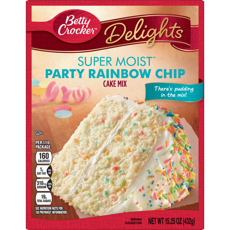 Betty Crocker Super Moist Rainbow Chip Cake Mix, 15.25 oz