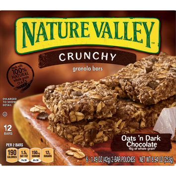 Nature Valley Granola Bars, Crunchy Oats & Dark Chocolate, 6 Pouches, 8.94 Ounce
